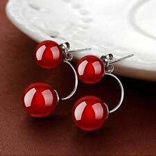 Jewelry Black Drop Natural Red Earrings Ear Stud Silver Plated Agate