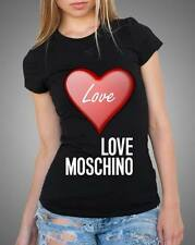Black Sexy Women Modern Top Tee T-shirt Heart Love Text Love Moschino