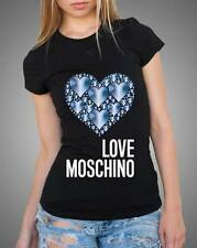 Black Sexy Women Modern Top Tee T-shirt Blue Hearts Love Moschino