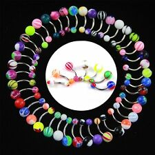 30/50 Pcs Stainless Acrylic Navel  Belly Button Ring Body Piercing Barbell Bar