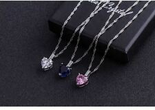 """18"""" Sterling Silver Heart Cut Zircon Pink Sapphire Pendant Necklace Gift Box A9"""