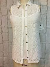 NWT Liz Claiborne M White Lace Blouse with Attached Tank Top 10-9