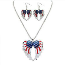 Resin Necklace Wings Bohemia Jewelry Sets Stars and Stripes Drip  Earrings
