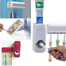 Toothpaste Dispenser Toothbrush Holder Hot Stand +5 Rack Wall Mount Auto Set