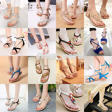 Women Summer Bohemia Slippers Flip Flops Flat Sandals Clip Toe Beach Thong Shoes