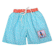 Boys Swim Trunks Aqua & White & Coral Smocked Seahorse Boys Babeeni 6m-6T NWT
