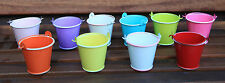 METAL TIN BUCKET POT TEALIGHT HOLDER WEDDING FAVOURS 6CM 2 FOR £1.50 10 colours