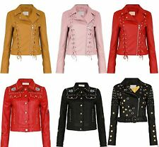 New  Men's And Women's Unisex PU Embroidered Metal Eyelets Lace Up Biker Jacket