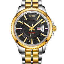 BUREI Mens Automatic Mechanical Date Day Stainless Steel Sport Analog Wristwatch
