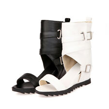 Gladiator Womens  Buckled Cross Strappy Conceal Wedge Heel Sandal Ankle Shoes