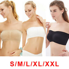 3 Pcs Women Strapless Seamless Bandeau Bra Boob Tube Comfort Top + 3 Colours