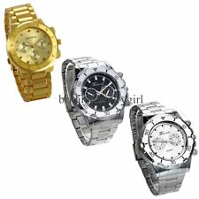 New Mens Luxury Watch Stainless Steel Band Quartz Analog Sport Wrist Watch Gift