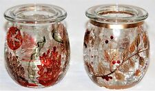 Yankee Candle Tea Light Holder  - Autumn Leaf - Coral Crackle