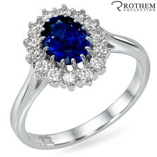 2.00 ct White Gold Princess Lady D Oval Blue Sapphire Engagement Ring 48746056