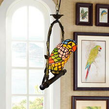 Red Parrot Stained Glass Tiffany Pendant Light Bar Cafe Retuarant Club Kids Room