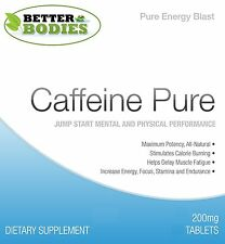 Better Bodies 200MG Pure Caffeine Tablets Energy Boost Slimming HIGH Strength