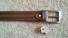 Mens Belt Hand Made Genuine Leather Pin Buckle Fashion Waistband Dark Brown Belt