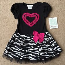 NWT girls size 2T & 3T Bonnie Jean Black, White & Fuchsia Zebra Stripe Dress FUN