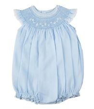Feltman Brothers Bubble Girls Blue Smocked with Lace Trim Infant NWT Easter