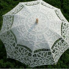 Vintage Lace Cotton Embroidery Wedding Parasol Umbrella Bridal Accessory White