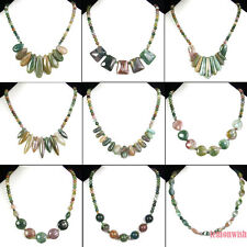 similar natural agate gemstone various shapes pendant beads stone necklace 17""