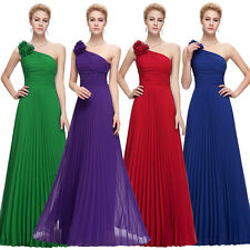 New Design Lady One Shoulder Chiffon Pleated Party Gown Ball Evening Long Dress