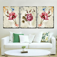 3PC Flower Canvas Painting Home Decor Butterfly Picture for Living Room No Frame