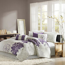 Beautiful Elegant Lavender Floral Cotton 7-PC Comforter Set Queen King Cal King