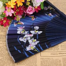 Butterfly Print Bamboo Ribs Handle Folding Fan Bamboo Fan Fan Silk Female Fan