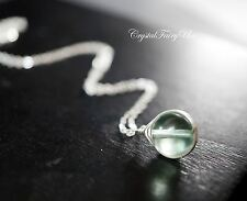 Sterling Silver Fluorite Necklace - 10mm Tiny Wrapped Fluorite Pendant - Heart C