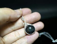 Wire Wrapped Rainbow Obsidian Necklace Sterling Silver Single Bead Necklace Simp