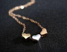 Tiny Three Hearts Necklace - Rose Gold Filled Necklace - Rose Gold Heart Pendant