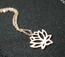 Rose Gold Lotus Flower Necklace ,Infinite Necklace, Tiny Rose Gold Necklace, Min