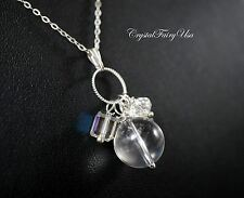Sterling Silver Clear Quartz Necklace - Clear Quartz Tassel - Crystal Healing Ne
