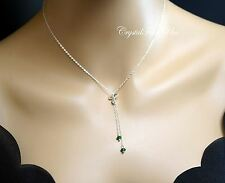 Jade Necklace - Sterling Silver Lariat Necklace - Y Necklace - Tiny Emeral Jade