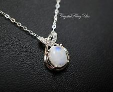 Tiny Moonstone Necklace in Sterling Silver, Moonstone Jewelry Moonstone Pendant