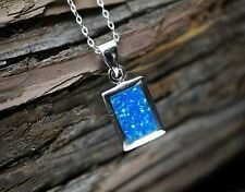 Fire Blue Opal Necklace - Full Sterling Silver Rectangle Necklace