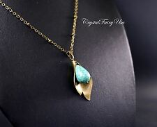 Lily Necklace - December Birthstone - Longh Chain Turquoise Necklace - Turquoise
