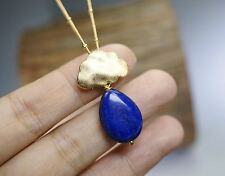Gold Lapis Lazuli Necklace - Cloud Teardrop Natural Lapis Pendant