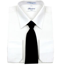 Men's Berlioni Business French Cuff Tie Set White Dress Shirt And Black Tie
