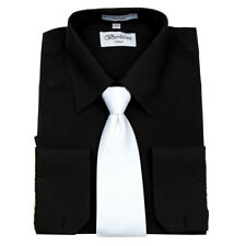 Men's Berlioni Business French Cuff Tie Set Black Dress Shirt And White Tie