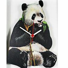 PANDA WOODEN QUARTZ WALL CLOCK DESIGNED & HAND MADE IN UK BRAND NEW AND BOXED