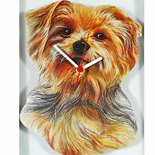 YORKSHIRE TERRIER YORKIE DOG WOODEN QUARTZ WALL CLOCK UK HAND MADE NEW & BOXED