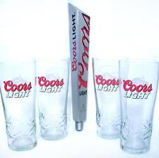 New COORS LIGHT BEER Tap Handle & 4 PINT SIGNATURE GLASSES COLD ACTIVATED SET