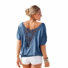 Womens Hollow Out Stitching Lace T Shirt For Fashionable Look