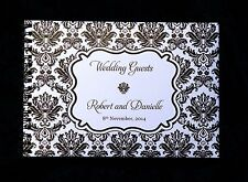 A5 Damask Personalised Guest Book in  Box for any Occasion + Optional Sign