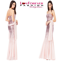 PINK STRAPLESS SEQUIN CHIFFON WEDDING BRIDESMAID LONG MAXI PROM PARTY DRESS 8-14