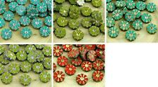 8pcs Picasso Wash Table Cut Flower Flat Coin Czech Glass Beads 12mm