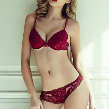 New Womens Lace Bra Sexy Lingerie Plunge Deep V Push up Bra Sets&Lace panties