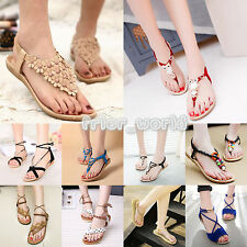 New Ladies Women Summer Bohemia T-strap Flip Flops Flat Sandal Beach Thong Shoes
